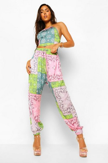 Pink Patchwork Paisley Woven Joggers