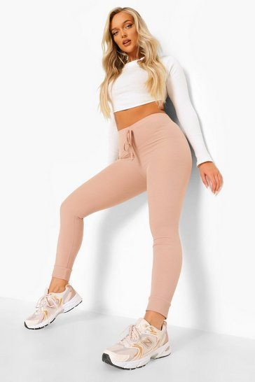 Stone beige Tie Detail Ribbed Cuffed Hem Leggings