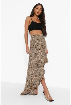Brown Leopard Print Asymmetric Ruffle Maxi Skirt