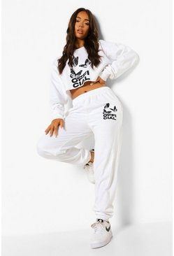 White Official Butterfly Cropped Tracksuit