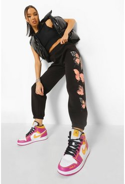 Black Butterfly Print Jogger