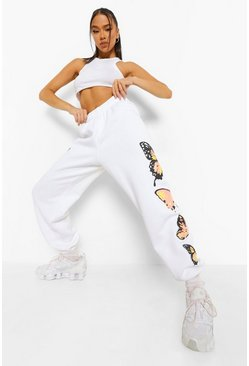 White Butterfly Print Jogger