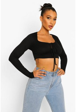 Black Long Sleeve Tie Detail Crop Top