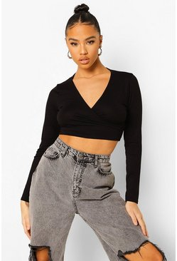 Black Wrap Tie Detail Crop Top, Schwarz