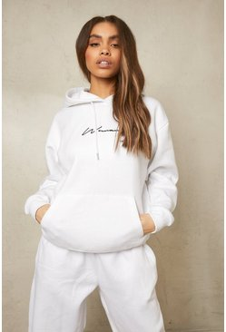 White Recycled Woman Script Hoodie