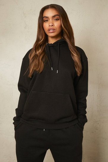 Black Recycled Over The Head Hoodie