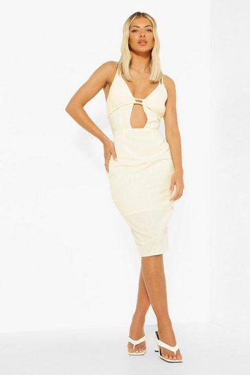 Cream white Linen Strappy Cut Out Tie Back Midi Dress
