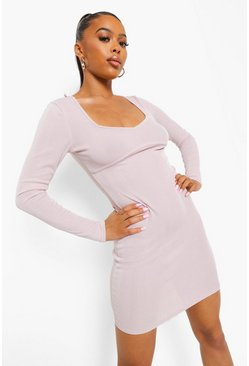 Stone beige Crinkle Rib Plunge Mini Dress