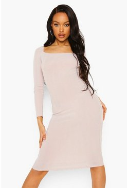 Stone beige Crinkle Rib Square Neck Midi Dress