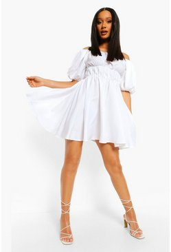 Off The Shoulder Rouched Skater Dress, White bianco