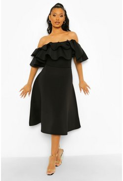 Black Bonded Scuba Bardot Frill Sleeve Midaxi Dress