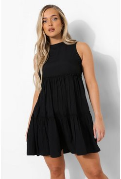 Black High Neck Sleeveless Tiered Smock Dress