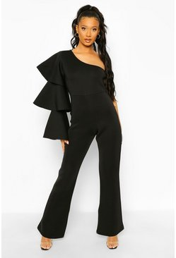 Black One Shoulder Scuba Flare Leg Jumpsuit