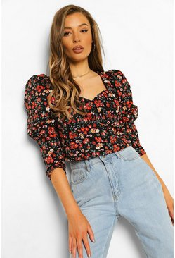 Black Ditsy Floral Corset Top