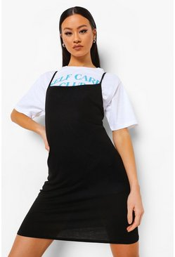 Black Slogan T Shirt And Tie Back Slip Dress