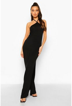 Black Halterneck Side Split Maxi Dress