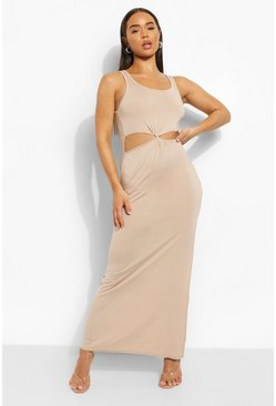 Stone beige Twist Cut Out Strappy Maxi Dress
