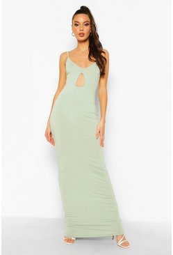 Sage green V Neck Cut Out Maxi Dress