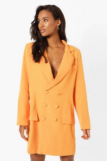 Orange Wrap Oversized Boyfriend Blazer Dress