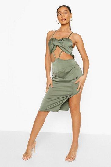 Khaki Twist Front Cut Out Midi Dress