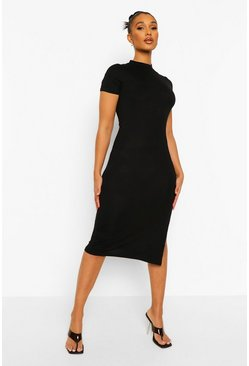 Short Sleeve Side Split Midi Dress, Black noir