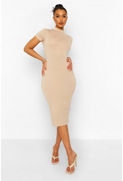 Stone beige High Neck Short Sleeve Midi Bodycon Dress
