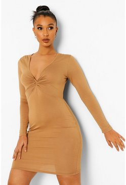 Camel beige Long Sleeve V Neck Mini Dress