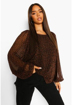 Brown Leopard Print Balloon Sleeve Blouse