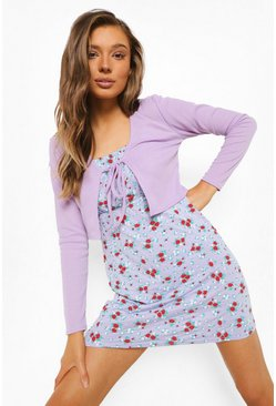 Lilac purple Ditsy Floral Slip Dress & Tie Front Cardigan