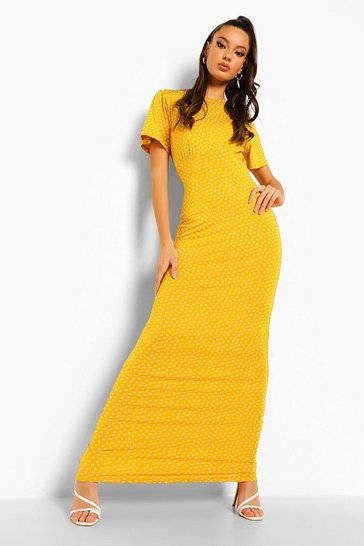 Mustard yellow Ditsy Floral Short Sleeve Maxi Dress