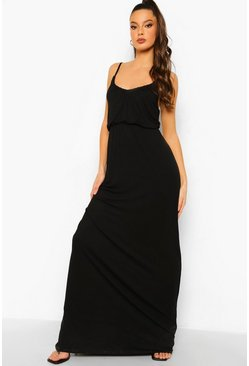 Black V Neck Blouson Maxi Dress