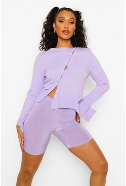 Lilac purple Distressed Hem Asymmetric Cardigan