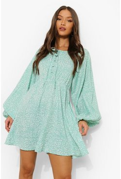 Sage green Printed Balloon Sleeve Skater Dress