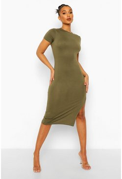 Khaki Side Split Cap Sleeve Midi Dress