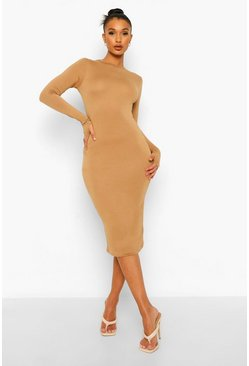Camel beige Long Sleeve Midi Bodycon Dress