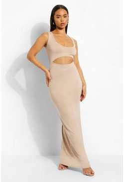 Stone beige Scoop Neck Twist Cut Out Maxi Dress