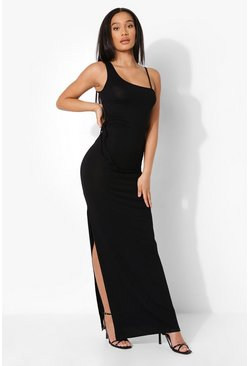 Black Asymmetric Neck Cut Out Maxi Dress