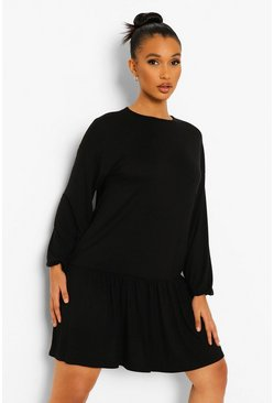 Black Long Sleeve Drop Hem Smock Dress