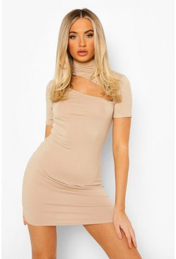 Stone beige High Neck Cut Out Mini Dress