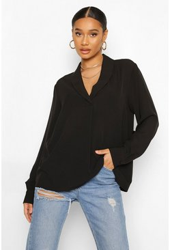 Black Long Sleeve Collared Blouse