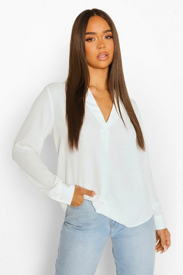 Ivory white White Long Sleeve Collared Blouse