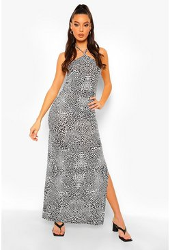 Black Leopard Print Haltnerneck Maxi Dress
