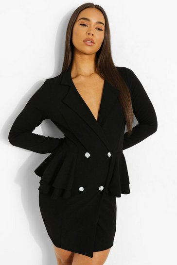 Black Scuba Frill Blazer Dress
