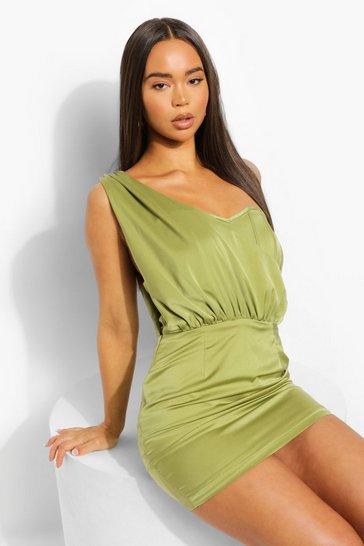 Sage green Satin Corset One Shoulder Drape Mini Dress