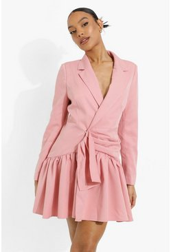 Rose Draped Frill Skirt Blazer Dress