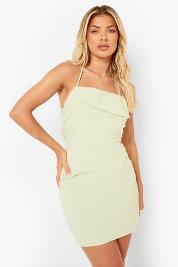 Sage green Linen Strappy Lace Up Back Mini Dress