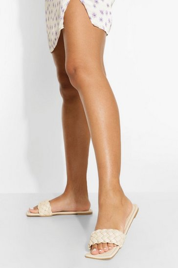 Cream white Plait Detail Square Toe Sandals