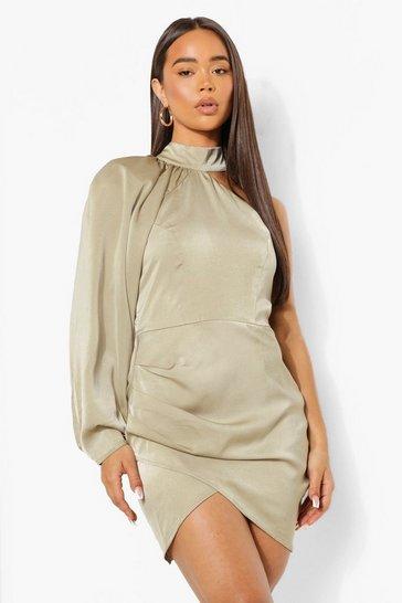 Sage green Shoulder Pad One Sleeve Mini Dress