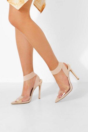 Nude Elastic Strap Clear Heels
