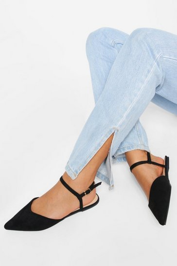 Black Wide Fit 2 Part Pointed Ballerina